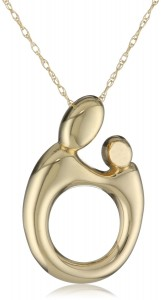 Mother And Child Necklace WIth Gold Pendant