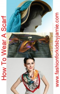 3 pictures showing a scarf with a hat, scarf as a belt and scarf around a girl's neck
